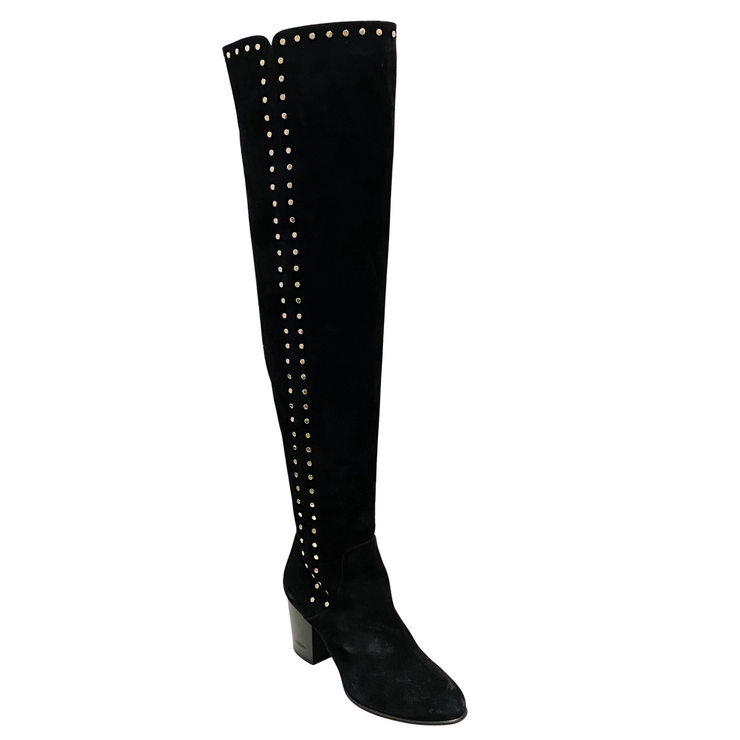 Jimmy Choo Black Suede Harlem 65 Studded Over The Knee Boots