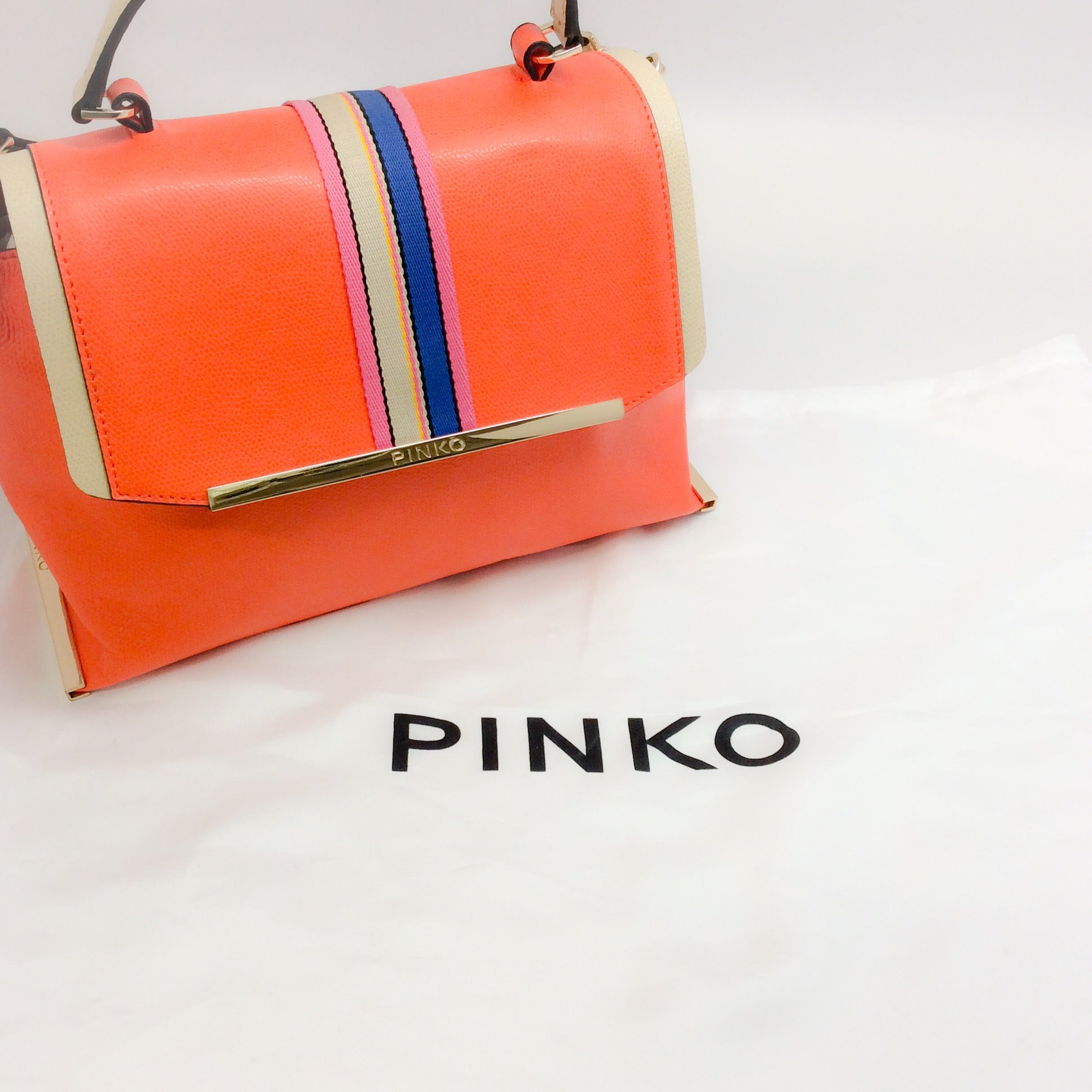 Pinko Front Ribbon Detail Orange Leather Satchel