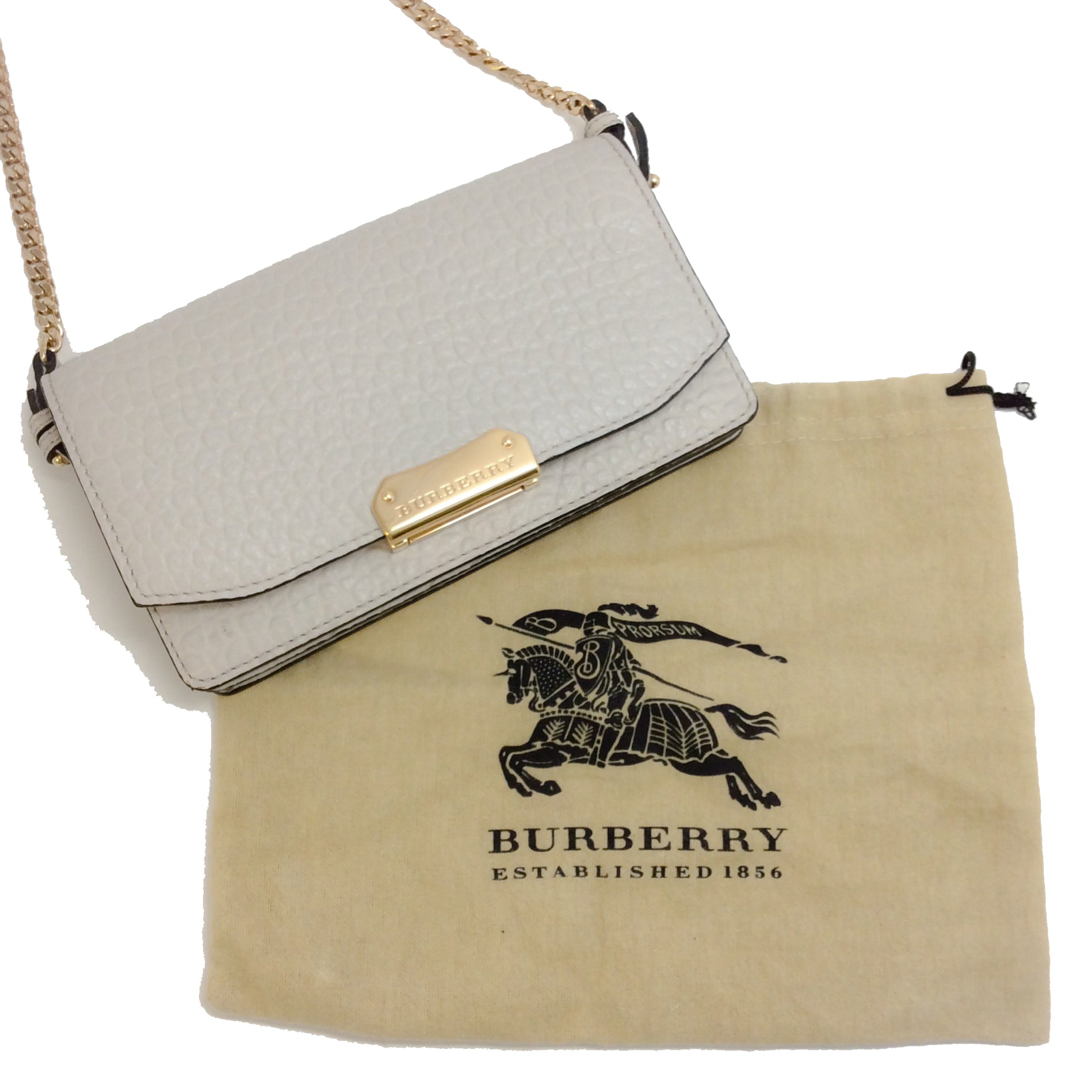 Burberry Wallet on Chain Light Grey Pebbled Leather Cross Body Bag