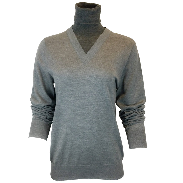 Helmut Lang Grey Cashmere Double Neck Sweater
