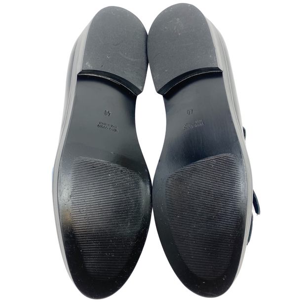 Peserico Black Leather and Pony Hair Loafers
