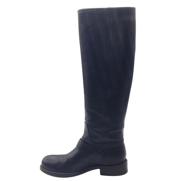 Bottega Veneta Navy Blue Leather Riding Boots
