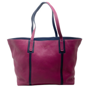 Smythson Magenta and Navy Jackie Tote