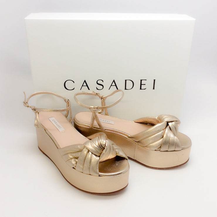 Casadei Gold Knot Front Flatform Wedge Sandals