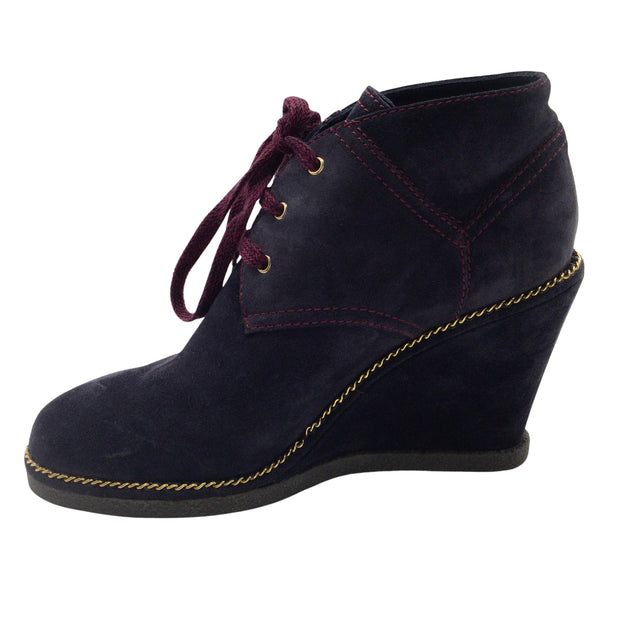 Chanel Navy Blue Suede Gold-Chain Wedge Ankle Boots/Booties