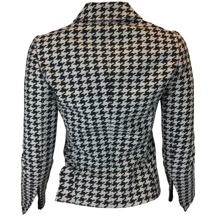 Stella McCartney Black & Ivory Houndstooth Double Breasted Blazer