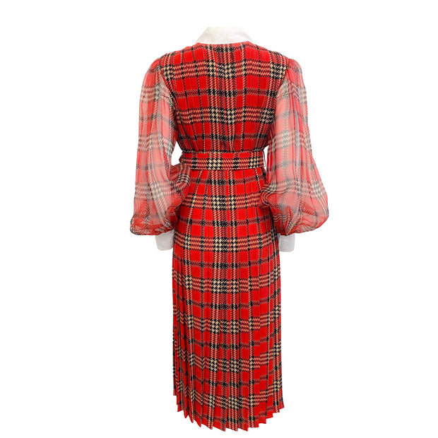 Emilia Wickstead Red Plaid Belted Pleated Work/Office Dress