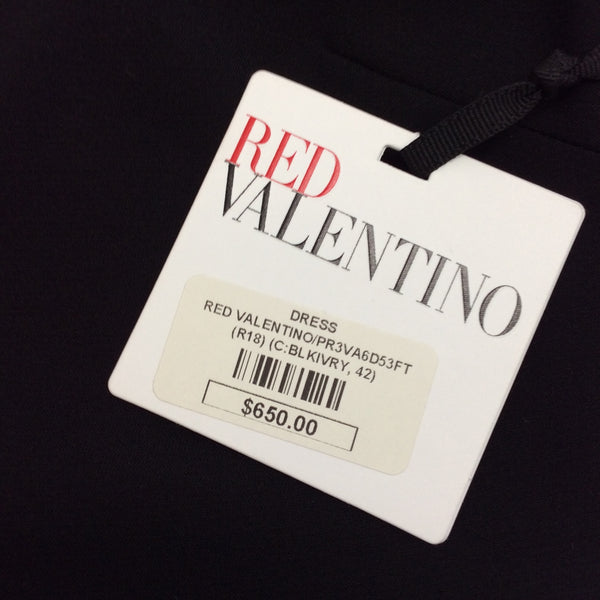 RED Valentino Black Contrast Rouche Dress