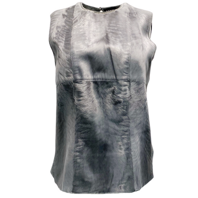 Akris Cashmere Hair On Sleeveless Grey Sweater Style Top