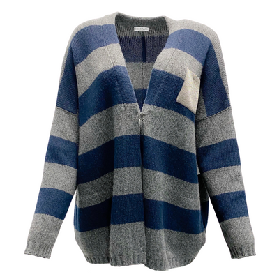Brunello Cucinelli Navy and Grey Stripe Beaded Pocket Sweater