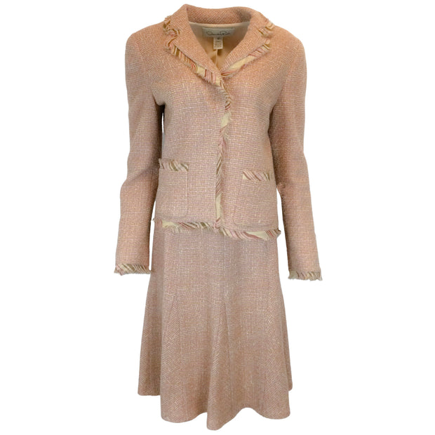 Oscar de la Renta Peach Tweed Blazer & Skirt Two-Piece Suit Set