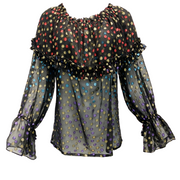 Saint Laurent Black Sheer Metallic Multicolor Dot Blouse