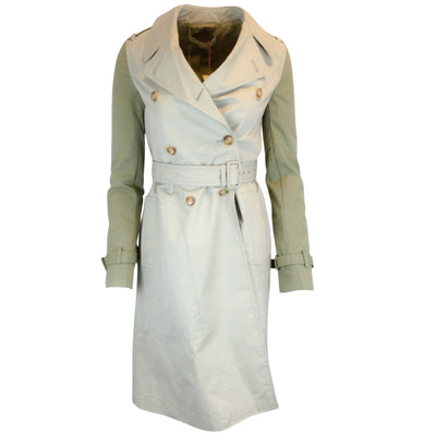 Stella McCartney Tanya Double Breasted Two-Tone Cotton Trench Coat