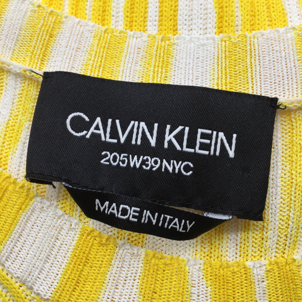 Calvin Klein 205W39NYC Yellow & White Striped Viscose Knit Dress