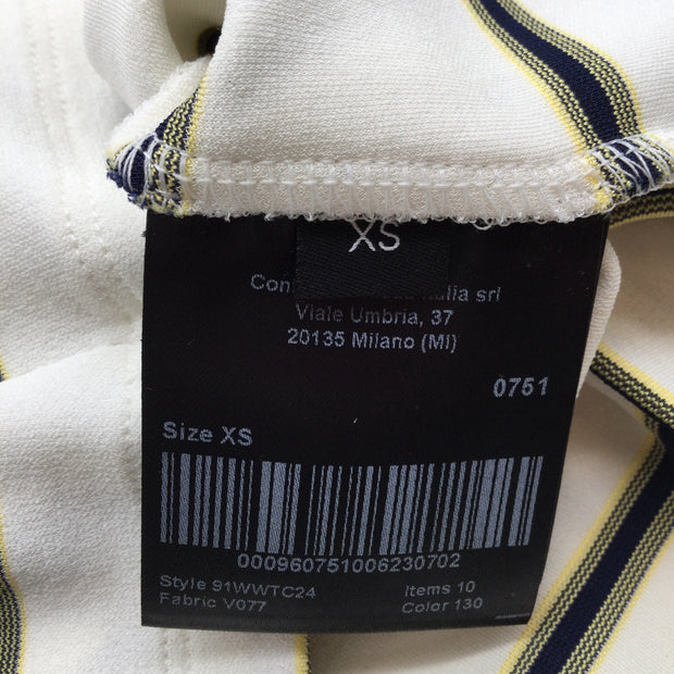 Calvin Klein 205W39NYC Ivory Striped Turtleneck Top