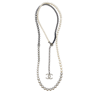 Chanel Silver and Black Pearl Logo Necklace