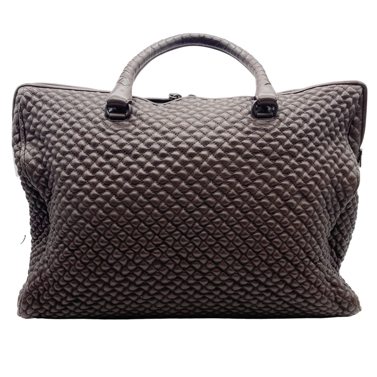 Bottega Veneta Dark Brown Quilted Bubble Leather Satchel