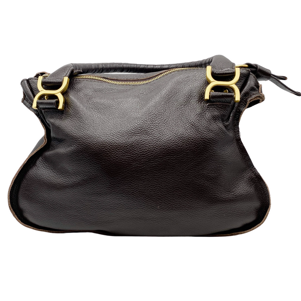 Chloé Marcie Small Dark Brown Leather Shoulder Bag