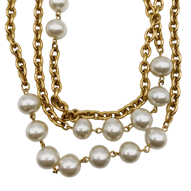 Chanel Gold Long Multi Chain Pearl Necklace