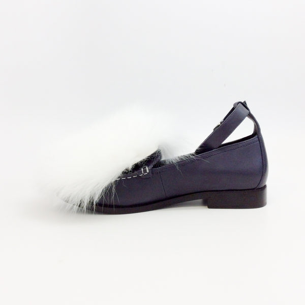 Opening Ceremony Navy Blue / White Ryder Ankle Strap Loafers