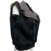 Derek Lam Black Leather and Fox Fur Vest