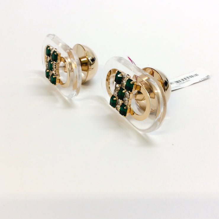 Marni Emerald / Gold Runway Cuff Links In Metal Plexiglass and Strass