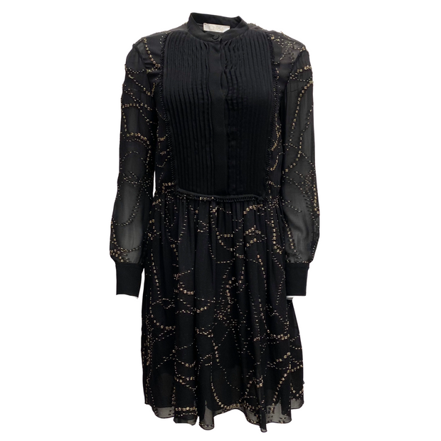 Chloé Black Silk and Gold Embroidered Dress