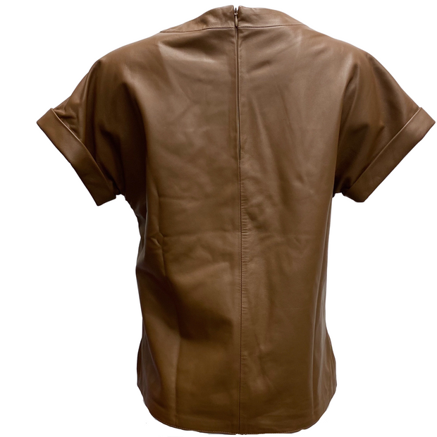 Peserico Brown Leather Round Neck T Shirt Top