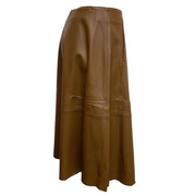 Peserico Brown Leather A Line Skirt