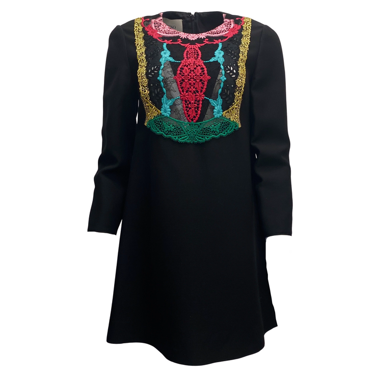 Valentino Black Multi Colored Wool Embroidered Dress