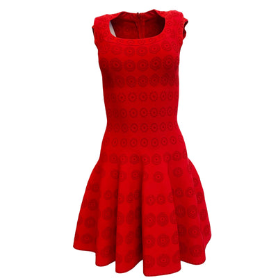 ALAÏA Red Circle Flare Night Out Dress