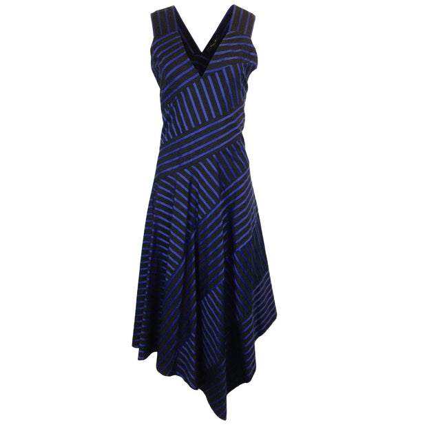Derek Lam Blue & Black Striped Sleeveless Cotton Dress