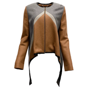 Derek Lam Brown and Grey Color Block Wool High Low Jacket