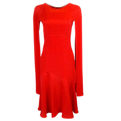Calvin Klein 205W39NYC Red Cape-Sleeve Flared Silk Midi Dress