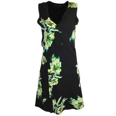 Proenza Schouler Black Floral Printed Sleeveless Silk Dress