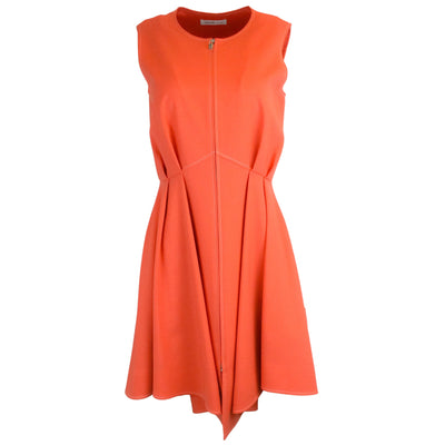 Adeam Orange Sleeveless Zip Dress in Tiger Lily