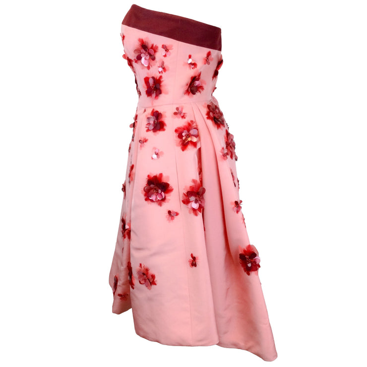 Carolina Herrera Pink & Burgundy Strapless Silk Taffeta Dress