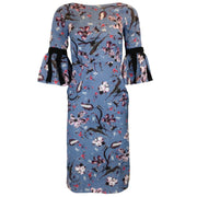 ERDEM Alexandria Slate Blue Floral Dress