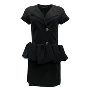Balenciaga Black Button Up Peplum Dress