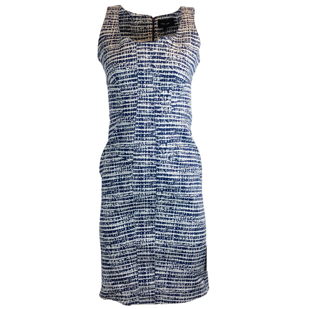 Derek Lam Blue & White Printed Sleeveless Cotton Dress