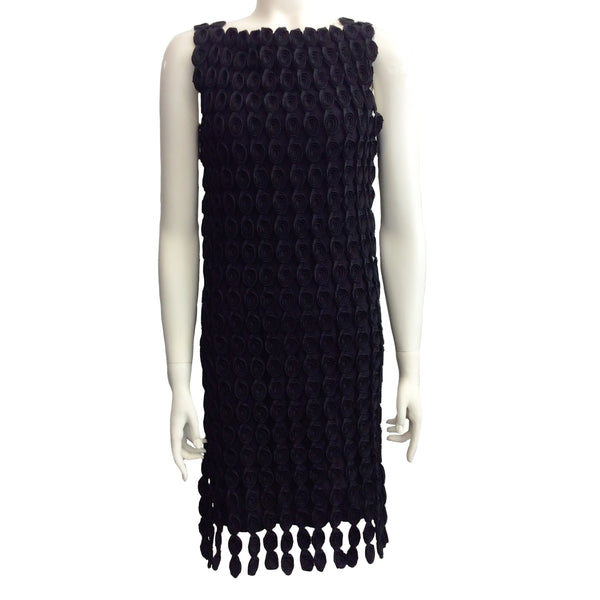 Balenciaga Black Ribbon Fringe Dress