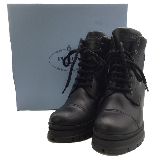 Prada Black Leather Lug Sole Boots