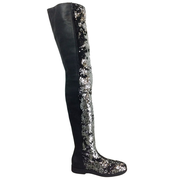 MM6 Maison Margiela Silver & Black Sequined Thigh High Leather Boots