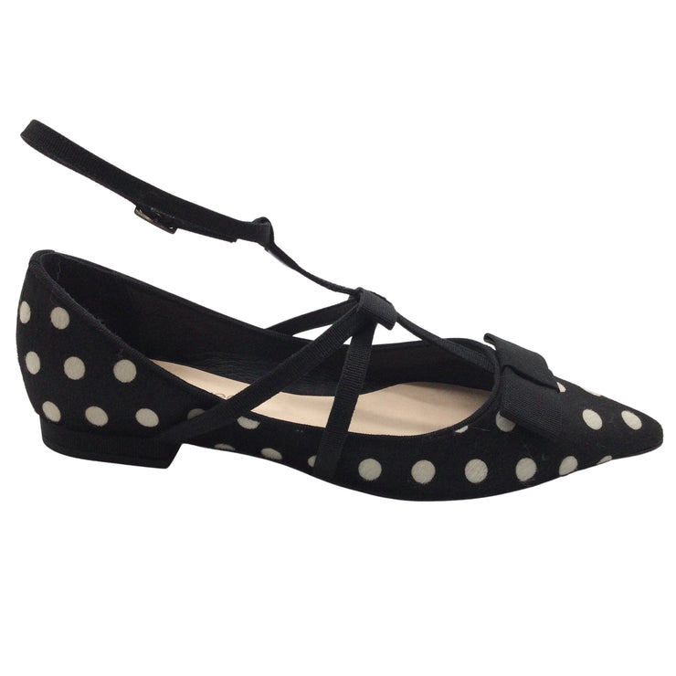 Anna Baiguera Black & White Polka Dotted Pony Hair Flats