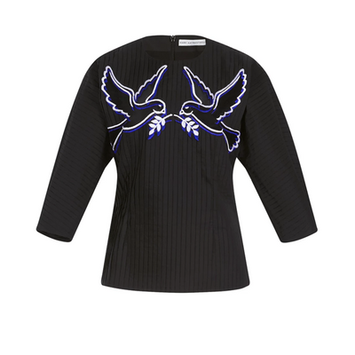 MARY KATRANTZOU Black Aphrodite Contrast Dove Cotton Blouse