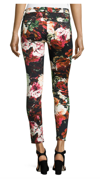 7 For All Mankind Black Floral Print Ankle Skinny Jeans