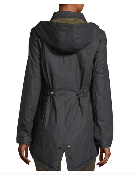 Veronica Beard Black King Rain Zip Front Parka with Hood