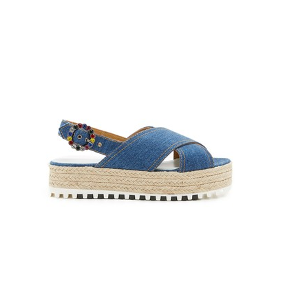 Criss Cross Denim Sandals by Marc Jacobs outside