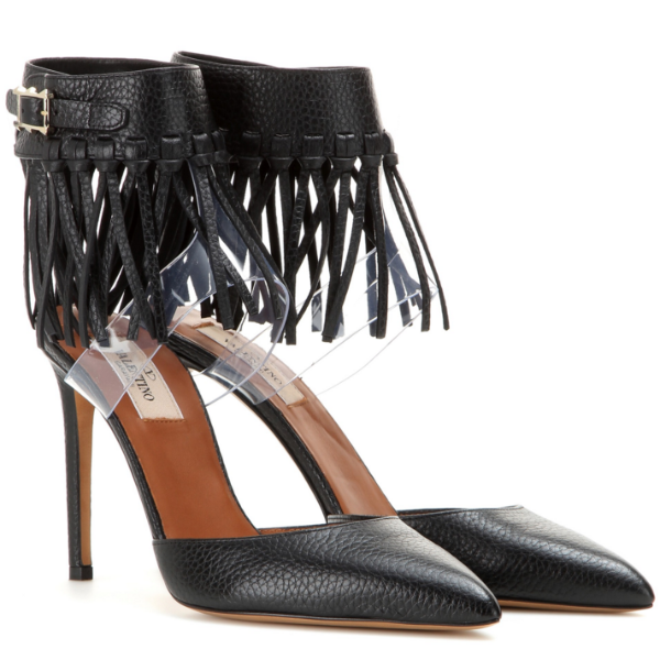 C-Rockee Fringed Black Pumps by Valentino