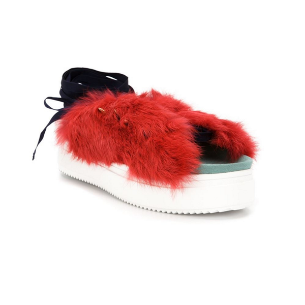 Rabbit Fur Red Sandal by Undercover